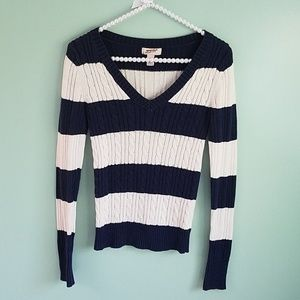 Cream Navy Blue Striped V-Neck Sweater